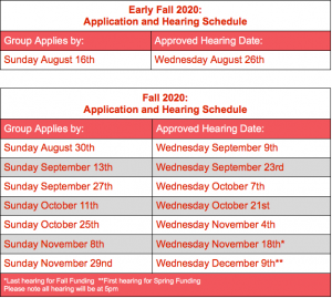 calendar of dates to apply for grant funding by