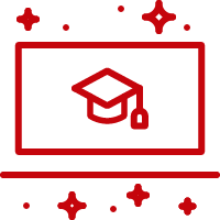 A graduation cap on a screen